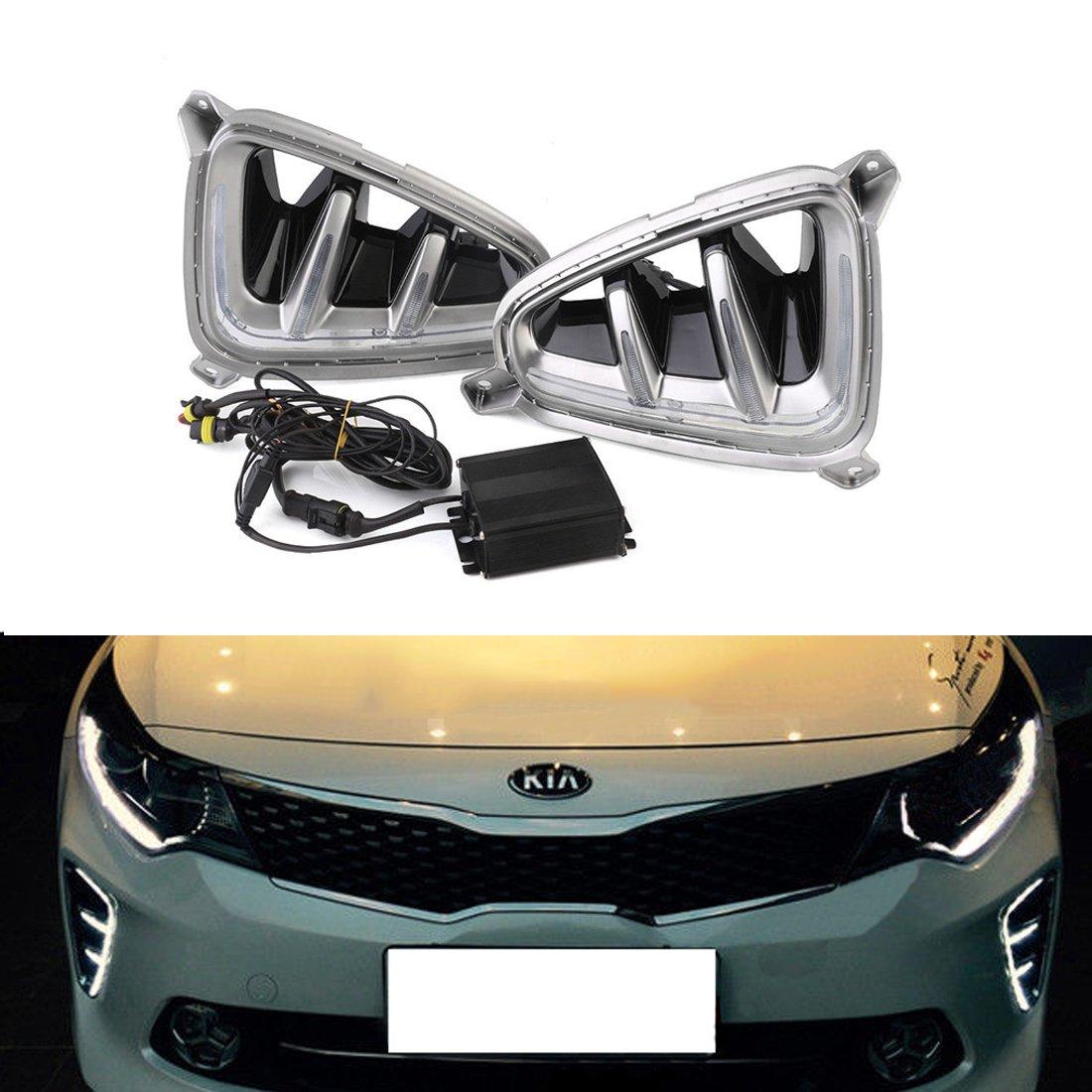 Get Quotations Vakabva Drl For Kia K5 Optima 2016 2017 White Led Daytime Running Light Fog Lamp Set