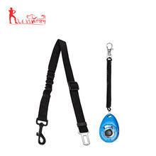 Dog seat belt leash with elastic bungee buffer and dog training clicker