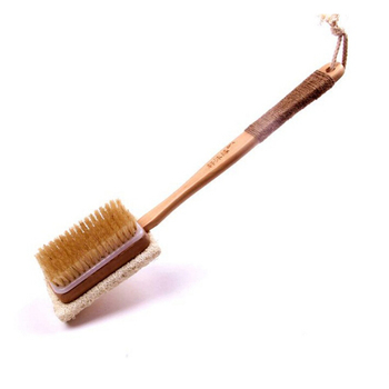 Factory direact supplied wooden bath brush two sides boar bristle and loofah body brush