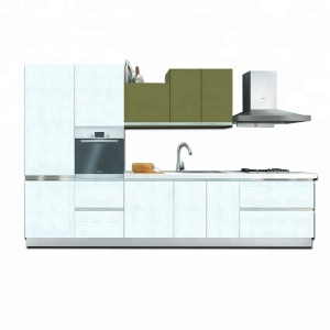 RTA competitive price melamine laminate kitchen cabinet with counter top and faucet