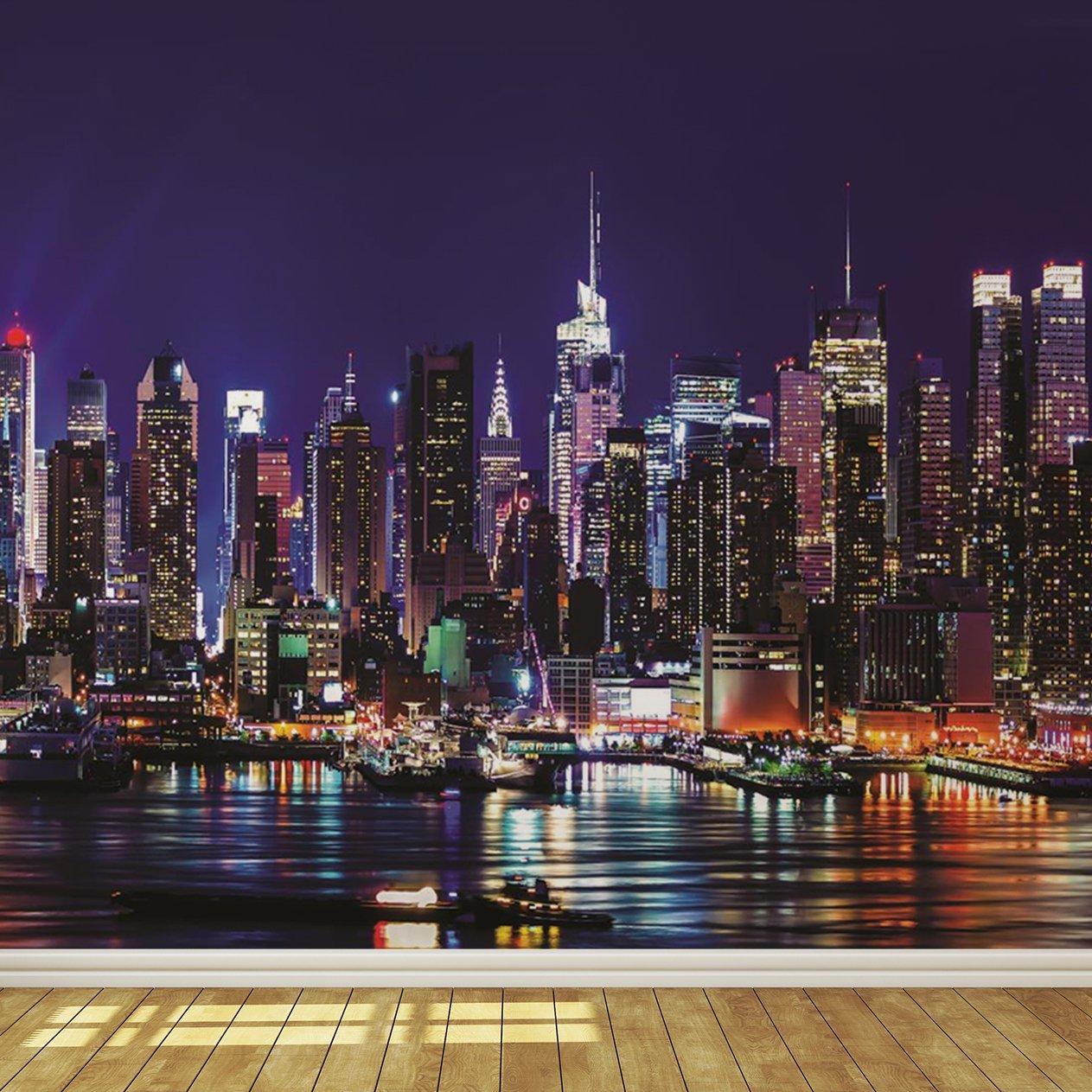 Buy New York City Skyline At Night 7 Wallpaper Mural In Cheap Price