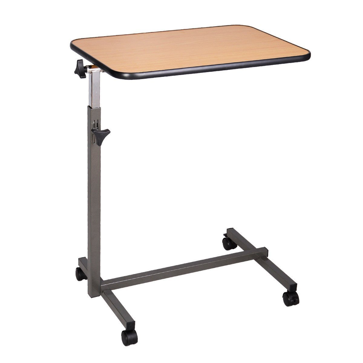 ... Laptop Food Tray Overbed Table Rolling Desk Hospital Over Bed With  Tilting Top