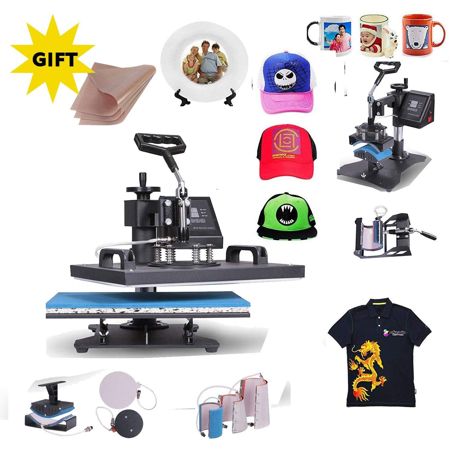 Mophorn Heat Press 12X15Inch 8in1 Swing-Away Heat Press Machine Digital Transfer Sublimation T-Shirt Press Machin for Mug/Hat/Plate/Cap (12x15 8in1 Dual Digital)