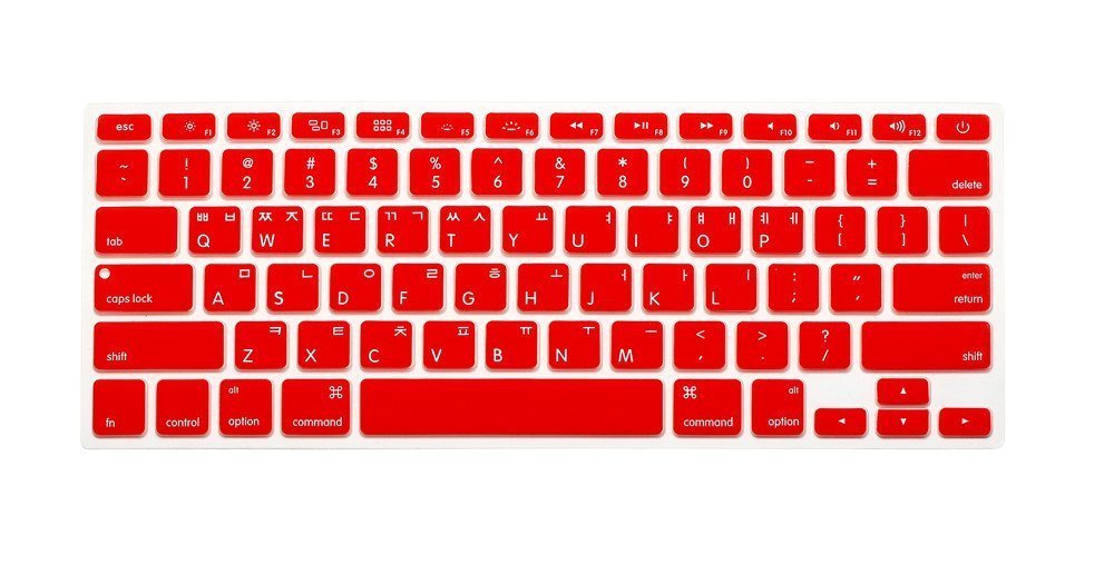 "Korean / English Keyboard Cover, HQF® Notebook Silicone *Korean Keyboard Skin* Protection Laptop Layout for All Apple Macbook Air Pro 13"" 15"" 17""(Red)"