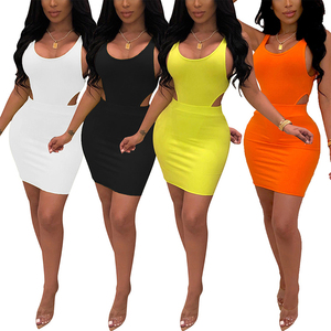 Summer Explosion Solid Color Bodycon Mini Sleeveless Dress Sexy Two Piece Skirt Set