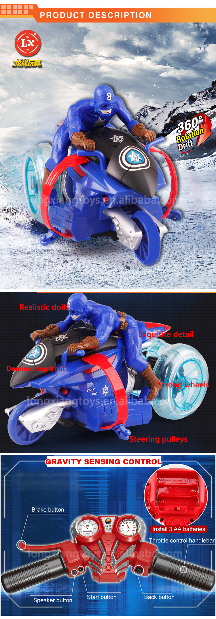 Promotional New ABS Electric Drift Small Motorcycle rc Toys