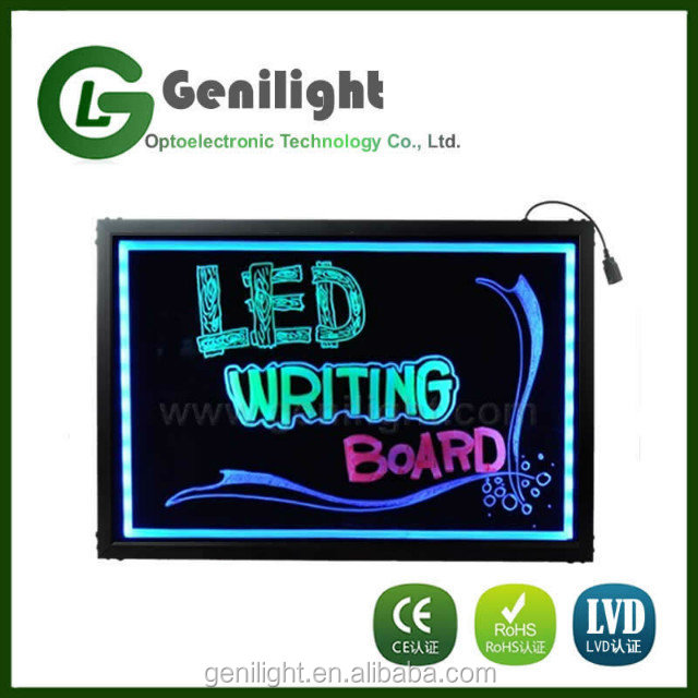 LED Tempered Glass Writing Board Chalk Board Sign