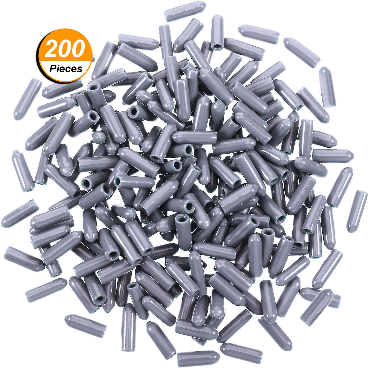 Blulu 200 Pieces Universal PVC Dishwasher Prong Rack Tip Tine Cover Caps, Flexible Round End Caps Shelf Organizer Tip Caps Wire Thread Protector Cover, Just Push On to Repair, 15 mm Long (Deep Grey)