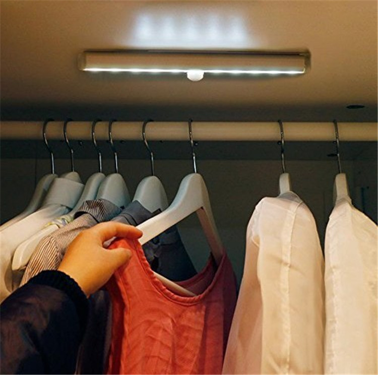 Portable Bright 10 LED Wireless Motion Sensing Closet Light Cabinet LED Night Light/Step Light/Stairs Light 3M Magnetic Strip