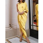 Gray Wine Red Yellow Long Dress Sexy Side Split One Shoulder Wrap Irregular Women Formal Maxi Evening Party Dress Elegant