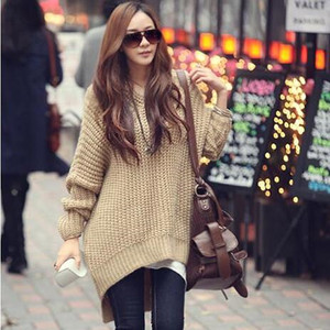 High Quality Women Pullover Loose Irregular Jumper Knit Sweater With Hooded