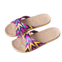Mnycxen/женские шлепанцы; Летние вьетнамки на плоской подошве; сандалии для девочек и мужчин; нескользящая льняная домашняя обувь; пляжная обув...(Китай)