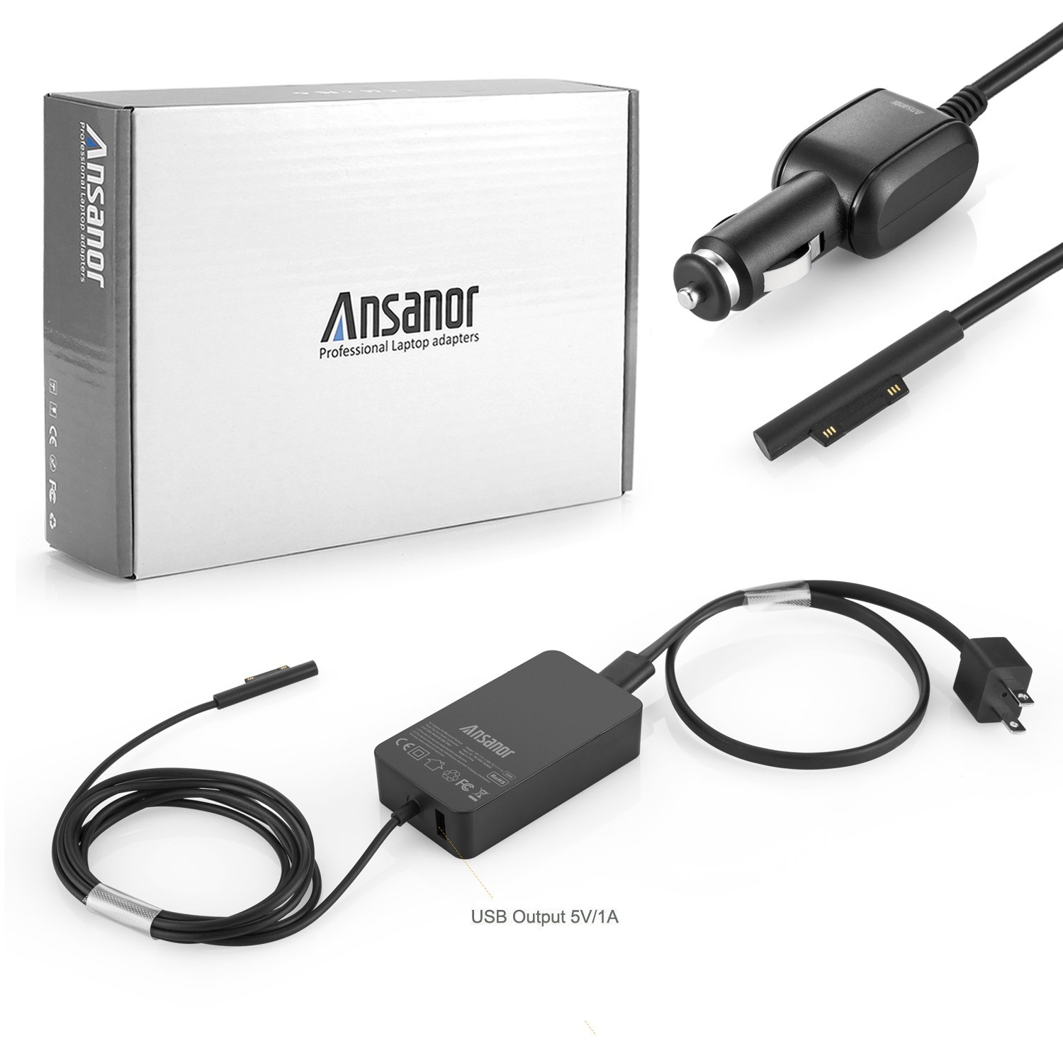 Ansanor 36W 12V 2.58A Power Adapter Charger for Microsoft Surface Pro 3 Pro 4 i5 i7 with USB Charging Port and 6Ft Cord, fits Model 1625 + Car Charger
