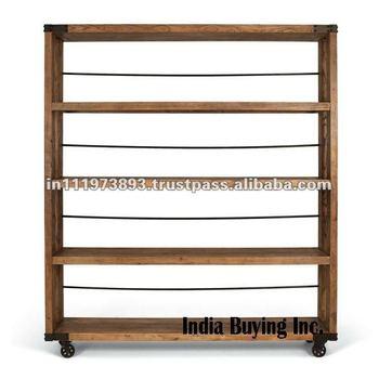 industrial style free standing shelving unit buy mango wood rh alibaba com free standing wooden shelves plans wood free standing shelves