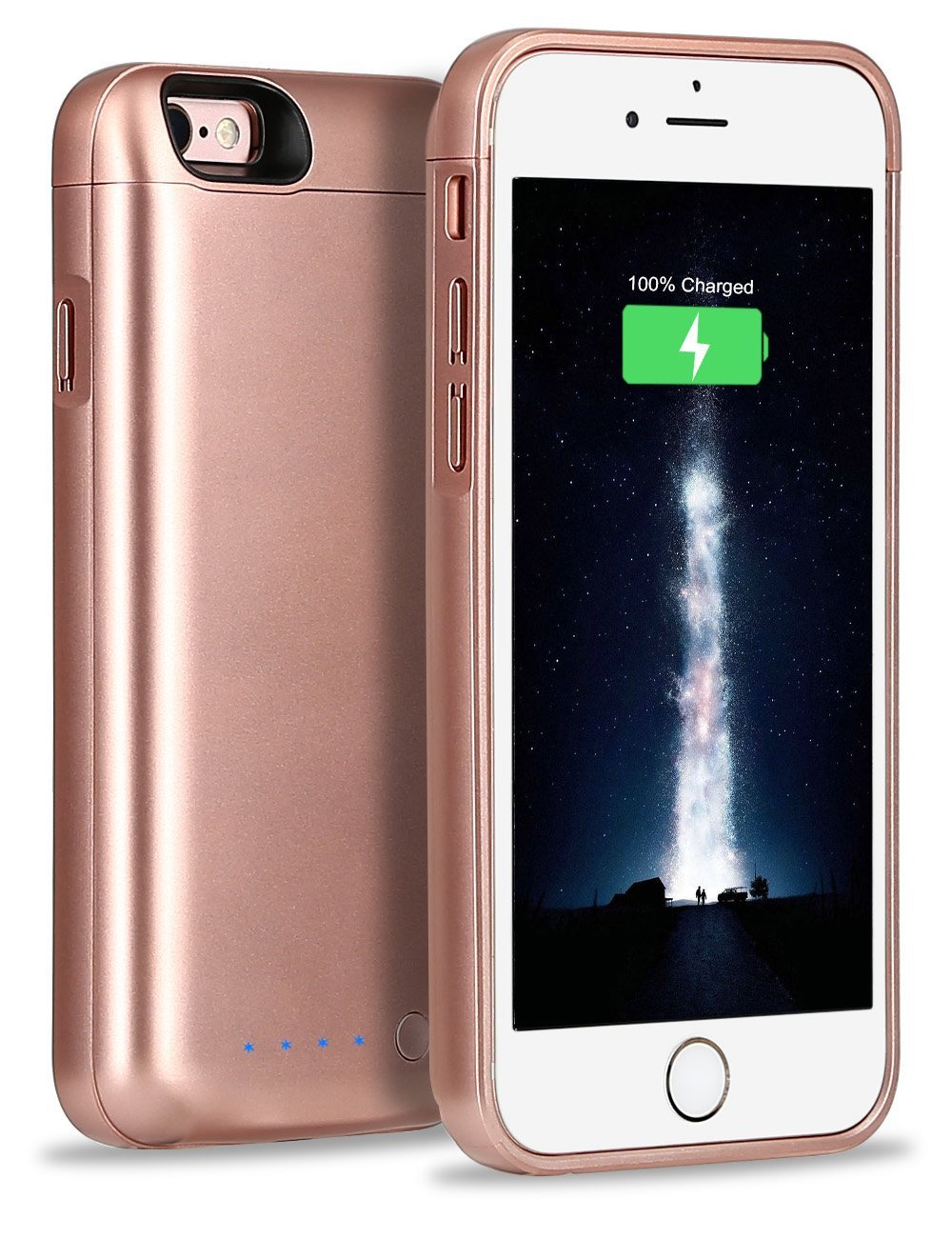 iPhone 6s Plus Battery Case, Higoo iPhone 6s Plus Portable Charger Case 8000mAh Rechargeable Extended Power Bank Rapid Charging Battery Backup 200% Extra Battery for iPhone 6S Plus/6 Plus Rose Gold