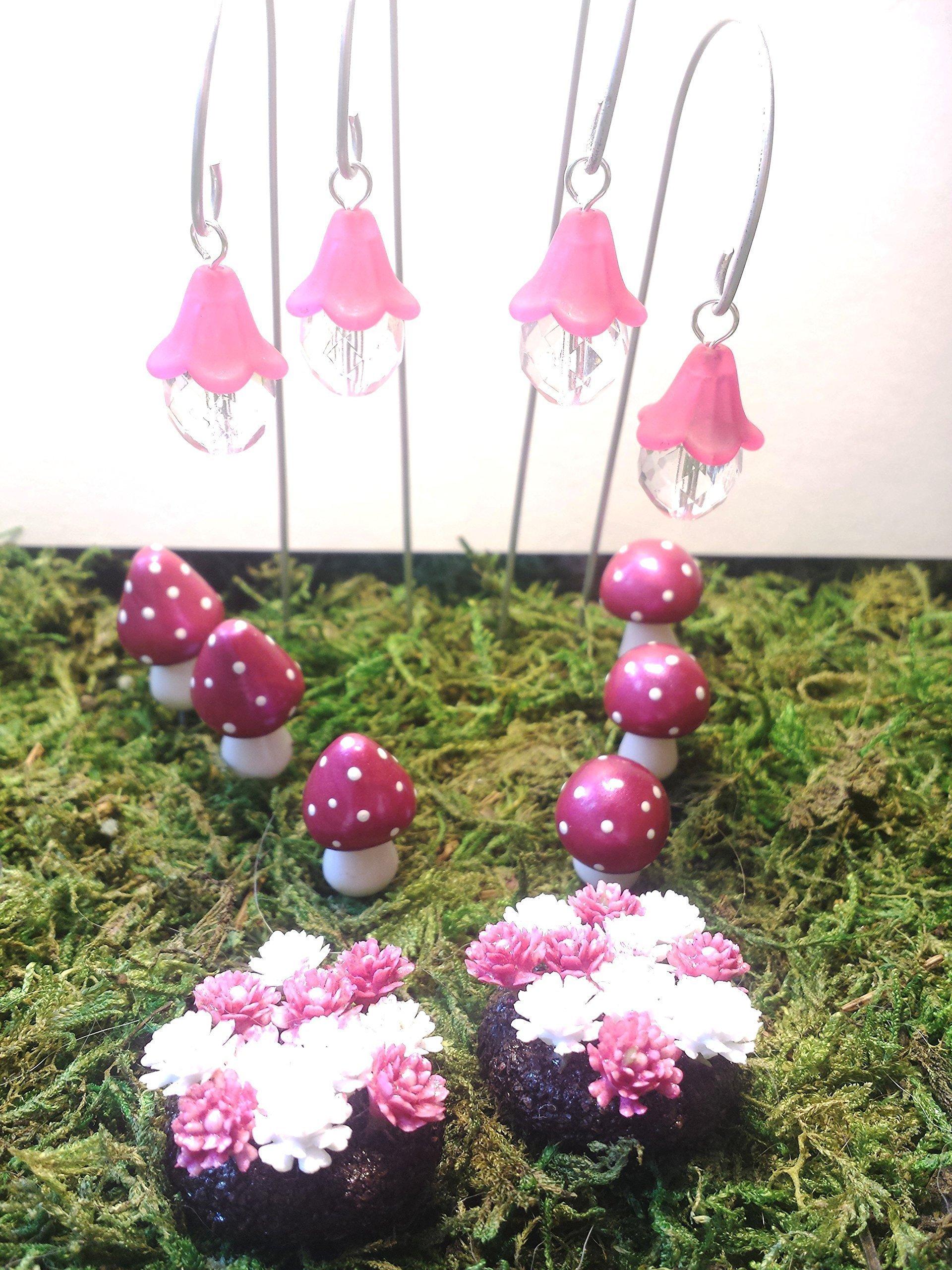 Pink fairy lights and pink miniature mushrooms Fairy garden accessories 10 piece set Terrarium d/écor.