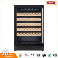 Preferential under counter upscale glass door display humidor cigar with wooden drawer
