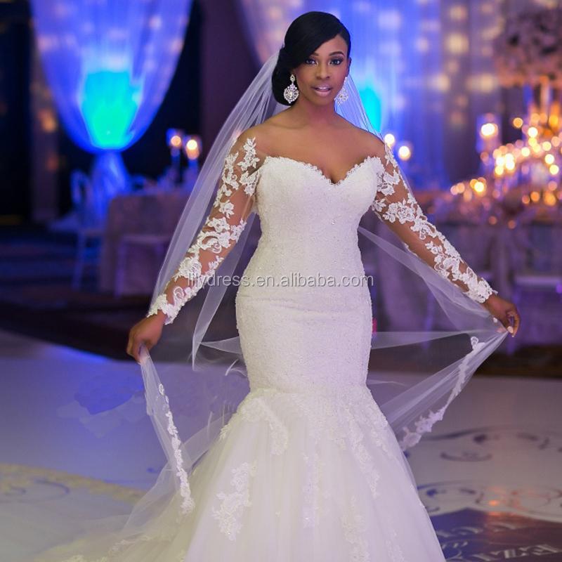 2018 Bridal Gown Africa Customized Black Women Mermaid Wedding Dress ...