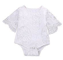 Infant Baby Girl Summer Hollow Lace White Romper Bodysuit One-pieces Jumpsuit