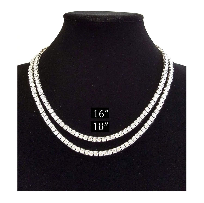 "Shiny Jewelers USA MENS ICED OUT SINGLE 1 ROW SILVER CZ HIP HOP CHAIN 16"", 18"", 20"", 24"", 30"" NECKLACE"