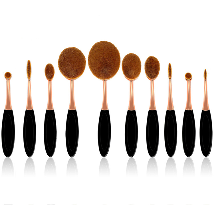 10 piece Private Label Foundation Blending Electroplate Oval Cosmetic Makeup Brush Set