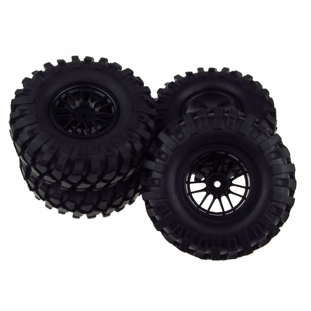 4PCS 1/10 Racing Climbing 108mm Tyre RC Tires & Double 7 Wheels for Rock Crawler Black