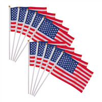 Different Sizes of US Hand Waving Flags with Plastic and Wood Poles