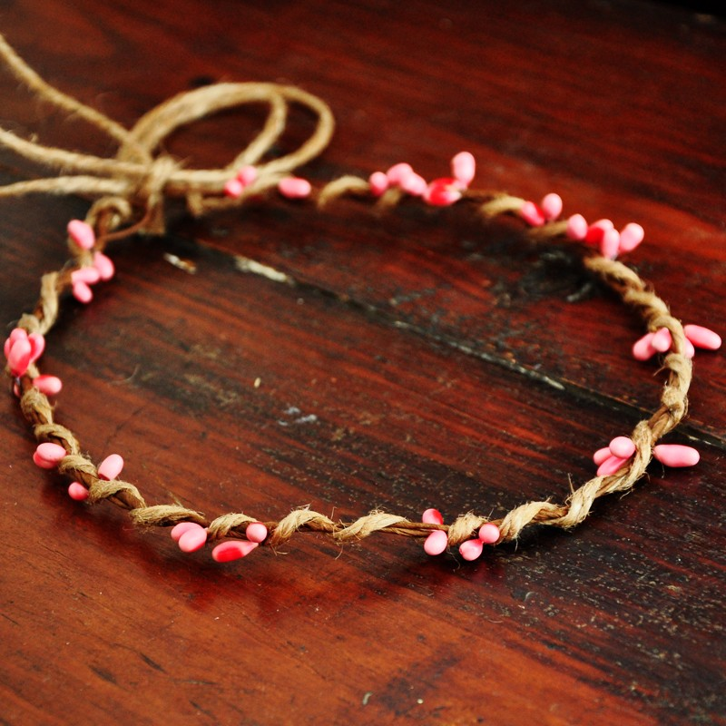 10 PCS Handmade Rustic Dainty Pink Pip Berries Twine Wreath Flower Crown  Festivals Feminine Whimsical Fresh Cute Christmas Gift b27c6bb538b4