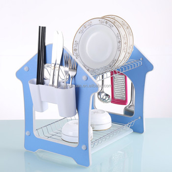 Home Basics 2 Tier Steel Dish Rack With Removable Utensil Cup Holder