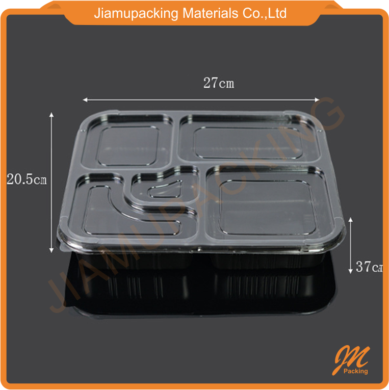 eco-friendly customize plastic clear 5 compartments food tray