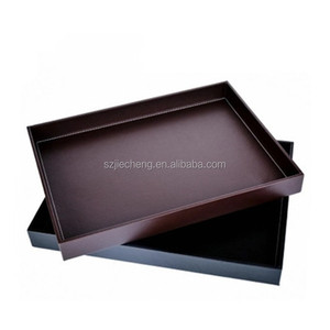 PU leather custom rectangular serving tray