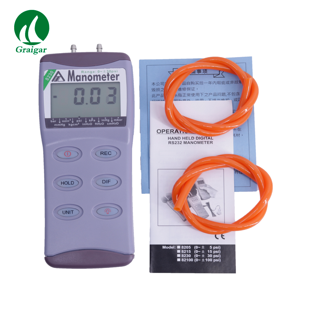 AZ8230 Digital Differential Pressure Meter Manometer Range 0~30psi