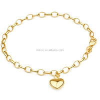 18k Gold Plated Stainless Steel Gold-filled Oval Belcher Heart Drop Bracelet