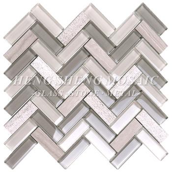Großhandel Neueste Design Streifen Marmor Gemischt Glas Backsplash Wand  Fischgrät Wellig Mosaik Küche Fliesen