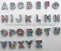 8mm colour rhinestones alphabet slider charms