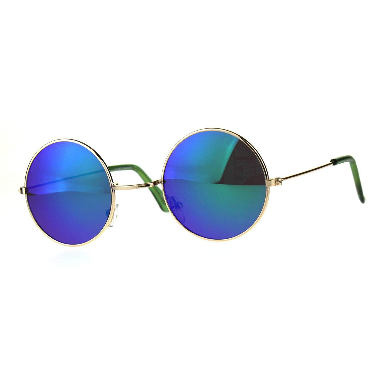 6a87d162cb Get Quotations · Kids Childern Size Metal Rim Round Circle Lens Color Mirror  Sunglasses