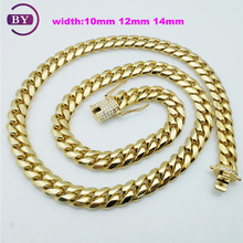 Hip Hop Jewelry Necklace Close Cuban Big Fashion 18K Gold Necklace With Glue Stone