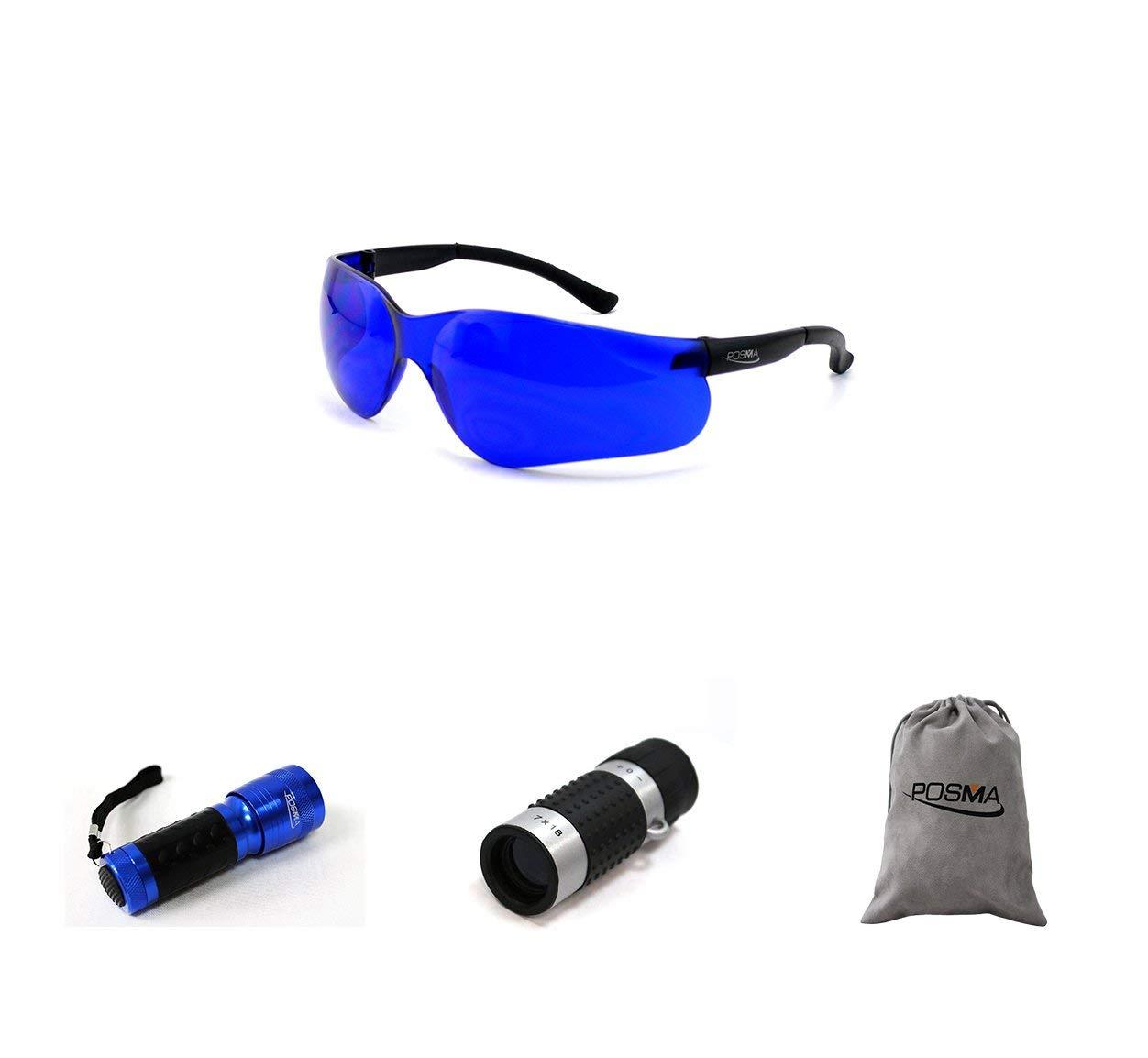 POSMA SGG-040D Golf Ball Finder Glasses Bundle Set with Golf Ball Finder Torch Ultraviolet UV Flashlight + Golf Rangefinder High Definition Mini Monocular Pocket Scope Flannel Storage Bag