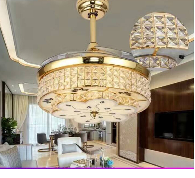Modern Ceiling Fan Crystal Chandelier 42 inch
