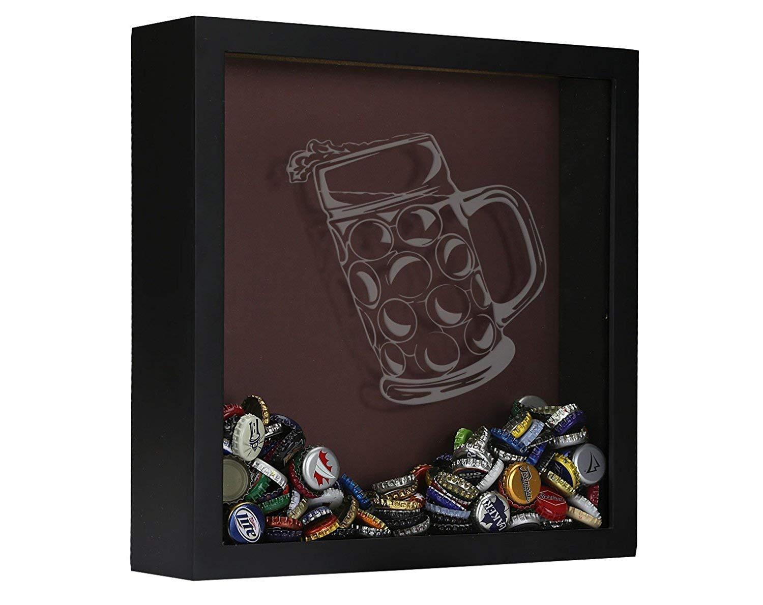 Beer Cap Shadow Box, Beer Cap Collector Shadow Box, Tilted Mug