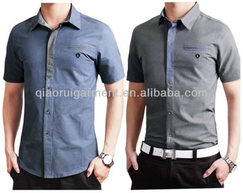 b9796cef28a5 Men's Short Sleeve Slim Fit Fake Tie Casual Shirt - Buy Fitted Short ...
