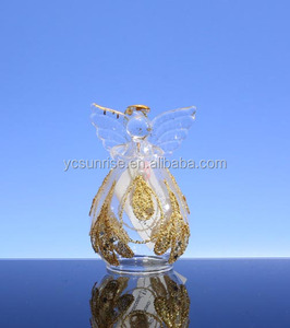 High quality christmas ornament glass angel with wing
