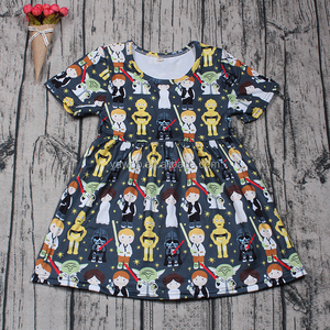 Hot Sale Yawoo new fabric patterns short sleeve smocked summer dress baby girls dresses