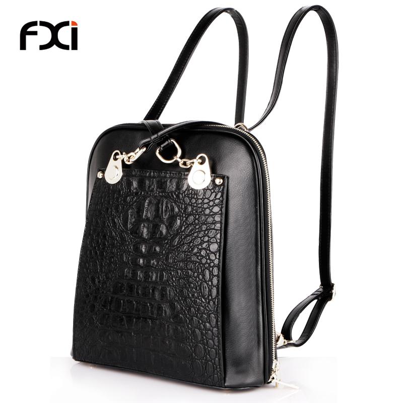 ee3aa41dcd8f Get Quotations · 2015 fashion black crocodile backpacks for teenage girls  alligator mochila escolar rucksack school bags trendy sac