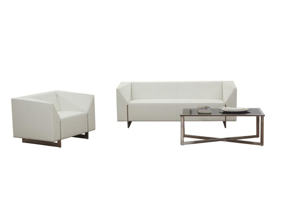 Executive Office White Sofa Leather