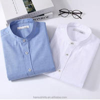 Mens baned mandarine collar long sleeve oxford shirts