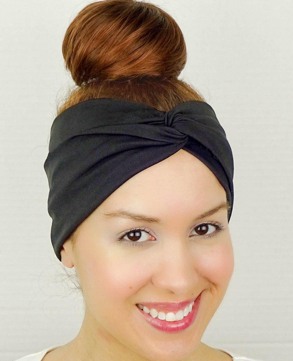 03f4e802d07 Get Quotations · Black Twist Headband Turban Stretchy Headband Bandana Headband  Yoga Headband Workout Headband Yoga Head Wrap Women