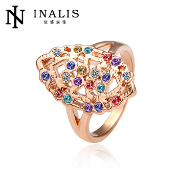 2014 Colorful Crystal Mounting 18k Gold Nepali Jewellery R004