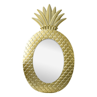 Wooden bathroom home wall decoration pineapple mirror gold deco
