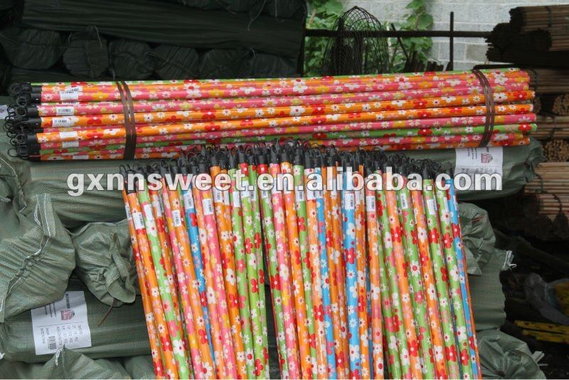 Plastic broom stick with various colors